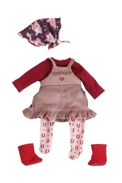 Kleidung zu Puppe 45 cm Susi/Hanni rose/rot/lila