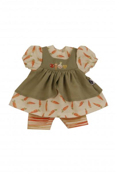 Kleidung zu Puppe Schlummerle 32 cm, Möhrenkleid in orange/oliv