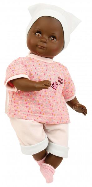 Puppe Schlummerle 32 cm mit Malhaar und braunen Schlafaugen, Kleidung rose/mint/weiss