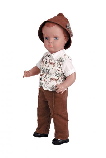 Puppe Hans 49 cm braune Malhaare, Trachtenkleidung