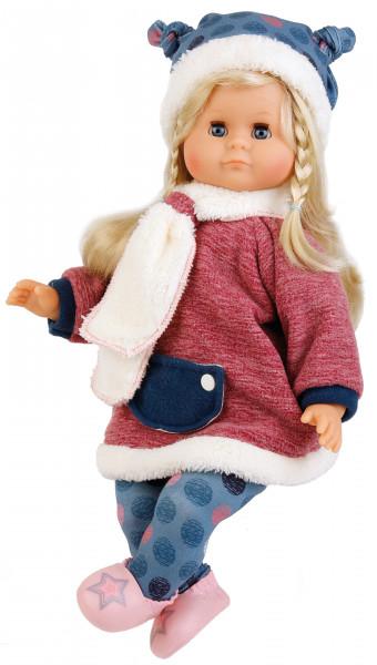 Puppe Schlummerle 37 cm blonde Haare, blaue Schlafaugen, Winterkleidung blau/rot