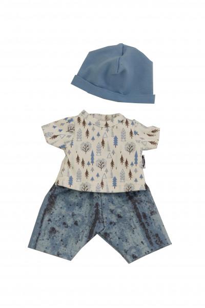 Kleidung zu Puppe Mein 1. Baby 28 cm blau/weiss