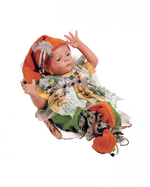 Puppe Elfiene 52 cm von Karola Wegerich, rote Haare, Kleidung grün/gelb/beige mit Wiege
