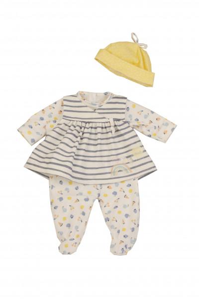 Kleidung zu Baby Amy 45 cm weiss/blau/gelb