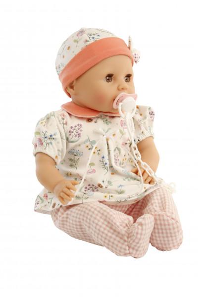 Baby Amy 45 cm mit Schnuller, Malhaar,braune Schlafaugen, Kleidung rose/orange/weiß mit Blumen