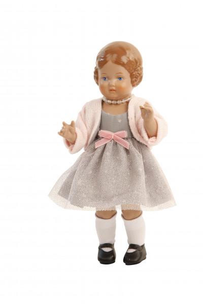 Bärbel 18 cm braune Malhaare, Kleidung grau/rose