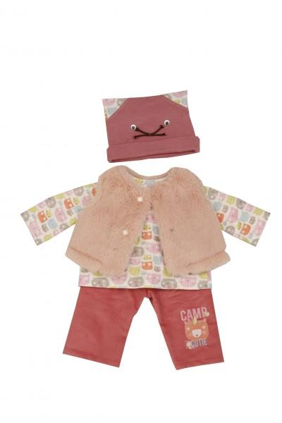 Kleidung zu Puppe 52 cm Klara/Julchen/Elli rot/rose mit Katzenmotiv