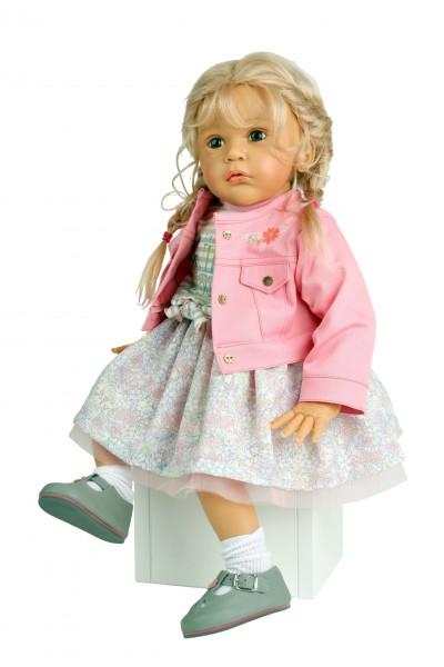 Puppe Mara 60 cm von Gudrun Legler, blonde Haare, Kleidung rose/weiss