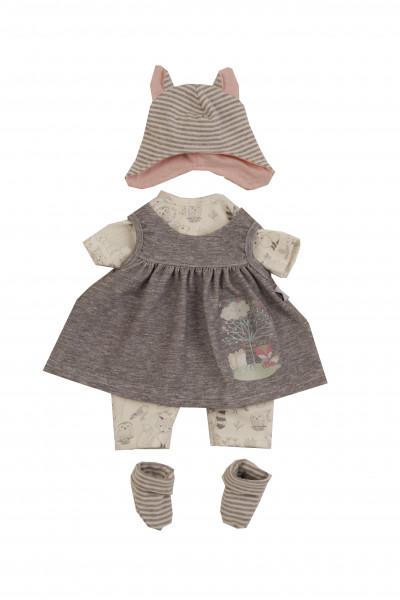 Kleidung zu Puppe 37 cm Schlenkerle/Schlummerle/Strampelchen Gr. 37 weiss/grau/rose
