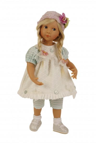 Puppe Sophie 35 cm von Sieglinde Frieske blonde Haare, Kleidung weiss/mint/rose