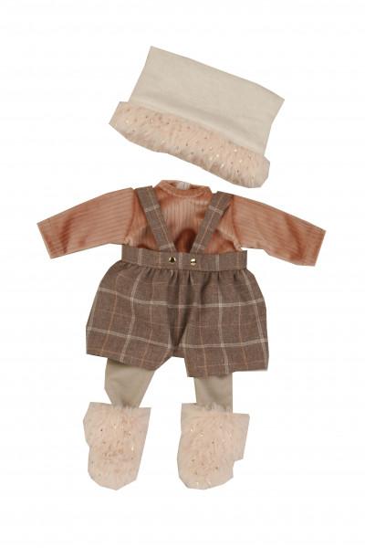 Kleidung zu Puppe Schlummerle 32 cm, winterlich in rose/braun/weiss