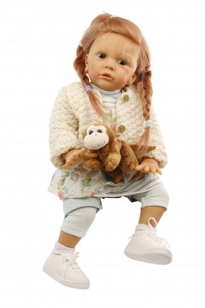 Puppe Greta 60 cm von Gudrun Legler, rote Haare, Kleidung mint/weiss