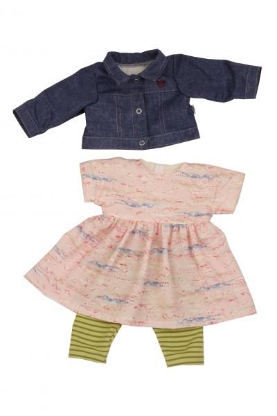 Kleidung zu Puppe 52 cm Klara/Julchen/Elli rose/grün mit Jeansjacke
