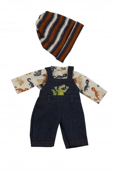 Kleidung zu Puppe Schlummerle 32 cm, Latzhose, Mütze und Dinoshirt