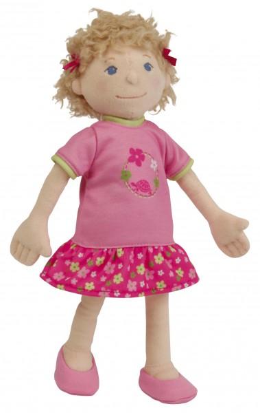 Stoffpuppe Emmeline 30 cm, gesticktes Gesicht, Kleidung pink/grün