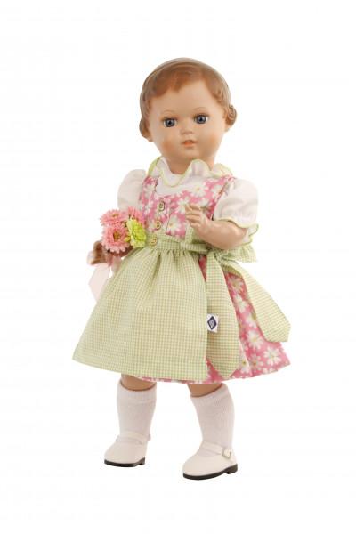 Puppe Erika 41 cm Miblu braune Malhaare, blaue Glaskugelaugen, Kleidung rose/grün