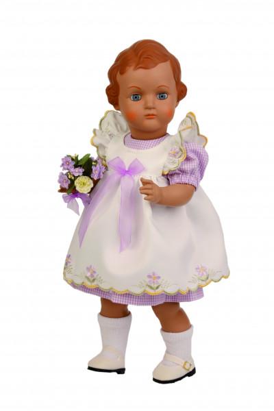 Puppe Ursel 41 cm von 1941 braune MalhaareSchürzenkleid weiss/lila