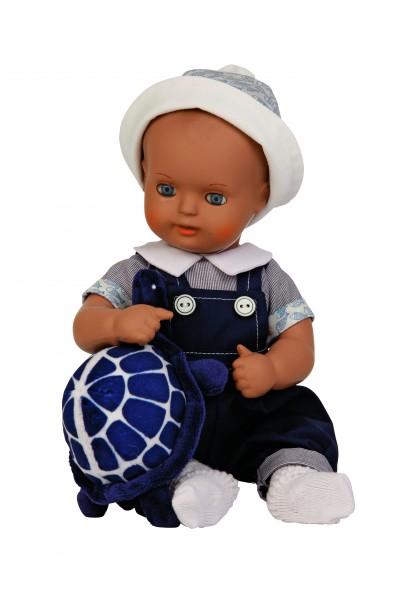 Baby Strampelchen 31+35 cm braune Malhaare, Kleidung blau/weiss