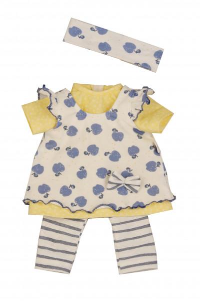 Kleidung zu Puppe 37 cm Strampelchen/Schlenkerle/Schlummerle gelb/blau/weiss