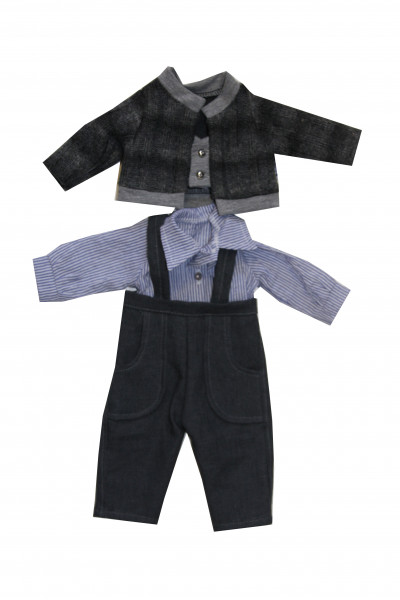 Anzug zu Stehpuppe 41 cm blau/braun