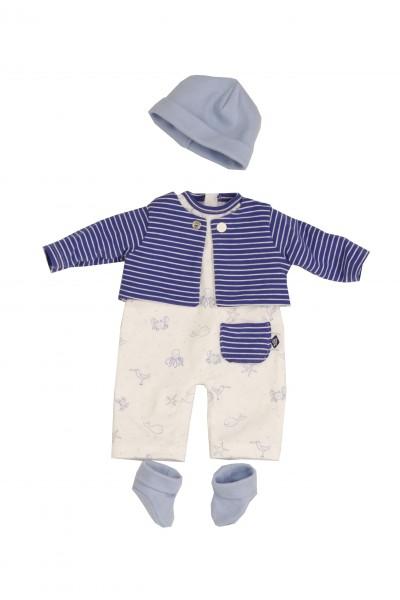 Kleidung zu Puppe 37 cm Schlenkerle/Strampelchen/Schlummerle Gr. 37 blau/weiss