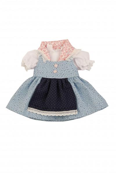 Kleidung zu Stehpuppe 41 cm Dirndl blau/weiss