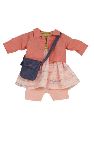 Kleidung zu Puppe 52 cm Elli/ Klara/ Julchen rot/rose/grün mit Tasche