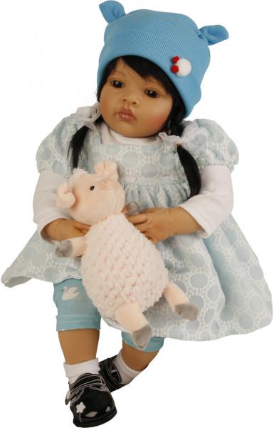 Baby Melissa 50 cm von Natali Blick blonde Haare, Kleidung pink/weiss