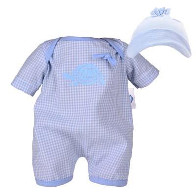 Kleidung zu Puppe 32 cm Schlummerle, Spielanzug mit Mütze bleu