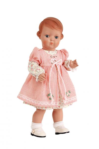 Puppe Inge 41 cm Miblu braune Malhaare, blaue Glaskugelaugen, rose/weisse Kleidung