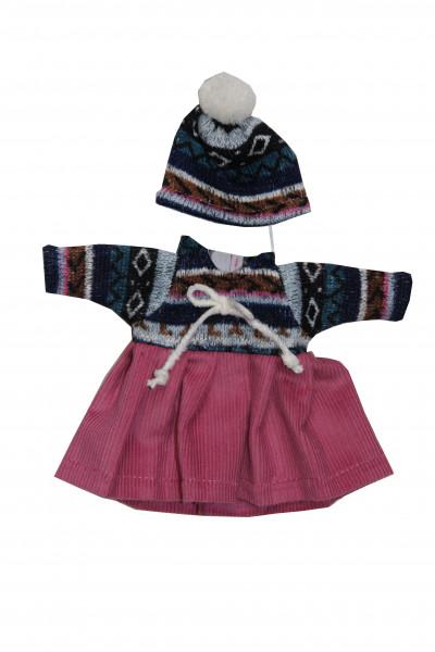 Kleid zu Stehpuppe 25 cm winterlich
