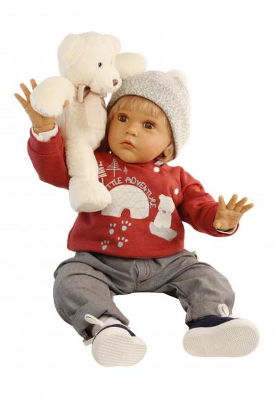 Puppe Aaron 60 cm von Gudrun Legler, blonde Haare, Kleidung grau/rot