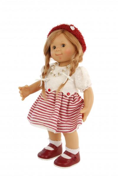 Puppe Müller-Wichtel Mona 30 cm rote Haare, Kleidung rot/weiss