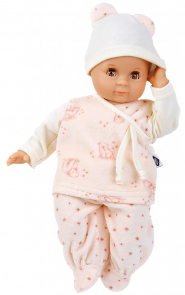 Puppe Schlummerle 32 cm mit Malhaar und braunen Schlafaugen, Nickyanzug rose/weiss