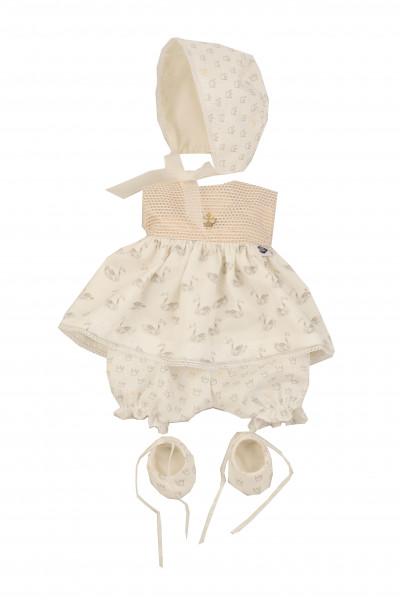 Schwanenkleid zu Baby Strampelchen 31+35+40+45 cm weiss/altgold