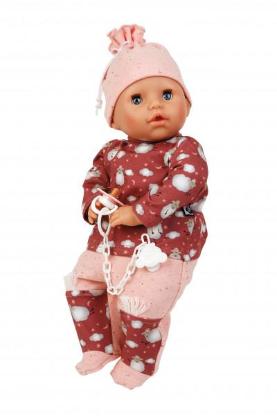 Baby Amy 45 cm mit Schnuller, Malhaar, blaue Schlafaugen, Schäfchenoverall rot/roselb