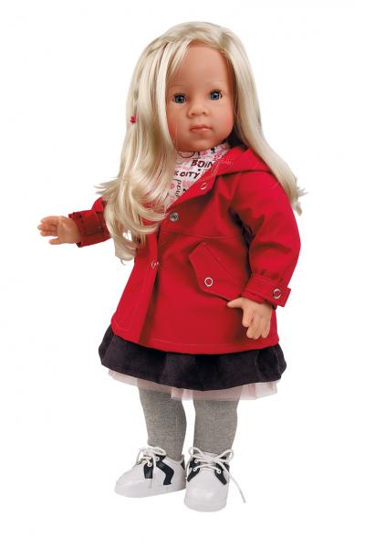 Stehpuppe Elli 52 cm blonde Haare, blaue Schlafaugen, winterliche Kleidung rose/rot/grau