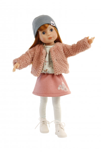 Stehpuppe Yella 46 cm rote Haare, winterliche Kleidung