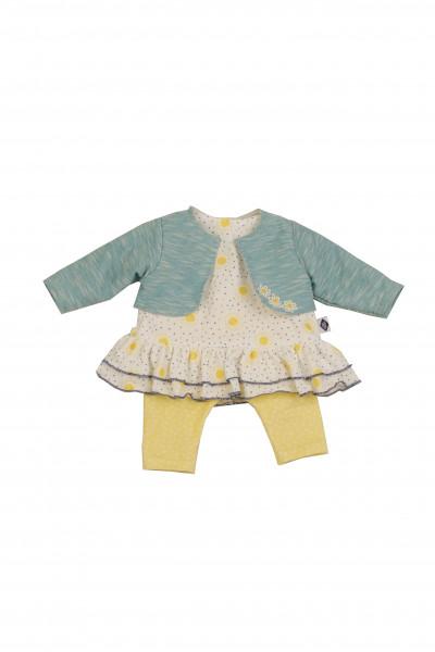 Kleidung zu Puppe 45 cm Susi/Hanni gelb/weiss/türkis