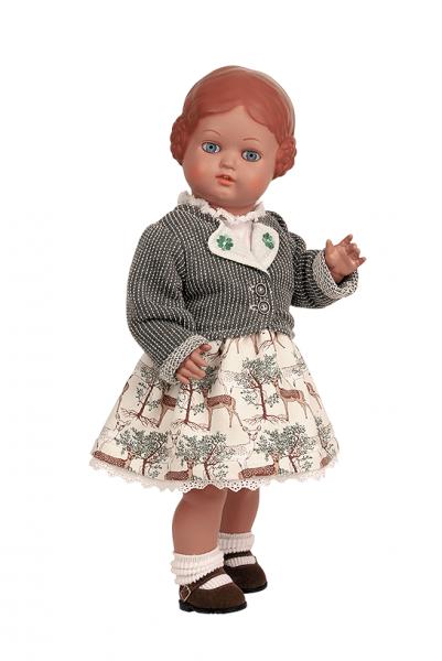 Puppe Bärbel 41 cm braune Malhaare, Trachtenkleidung