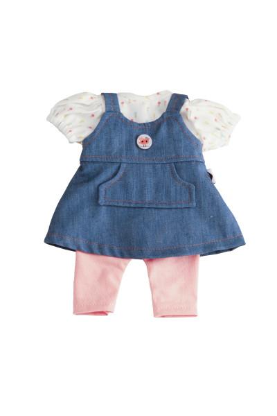 Kleidung zu Puppe Schlummerle 32 cm, Sommerkleidung rpse/weiss/blau