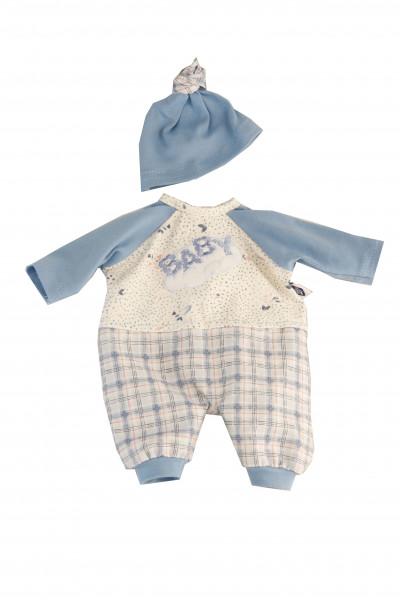 Kleidung zu Puppe Schlummerle 32 cm, Karohose, Pullover+Mütze blau/weiss/rot