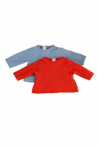 Shirts 2-er Set Langarm für Puppen 32-52 cm in rot+blau