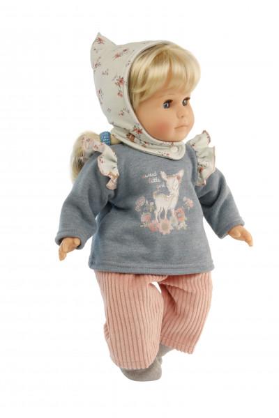 Puppe Hanni 45 cm blonde Haare, blaue Schlafaugen, Kleidung rose/blau/mint