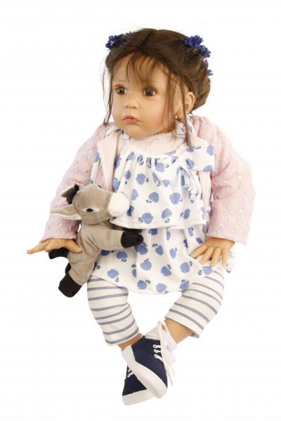 Puppe Mara 60 cm von Gudrun Legler braune Haare, Kleidung weis/blau/rose