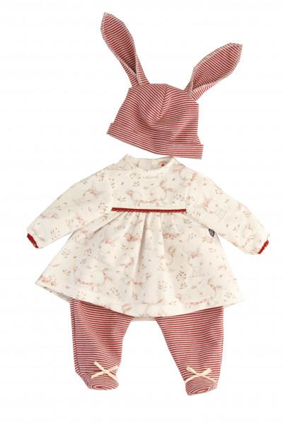 Kleidung zu Puppe 37 cm Schlenkerle/Strampelchen/Schlummerle/Lenchen rot/weiss