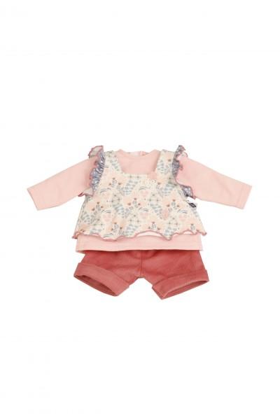 Kleidung zu Puppe 37 cm Schlummerle/Schlenkerle/Strampelchen rose/weiss/rot
