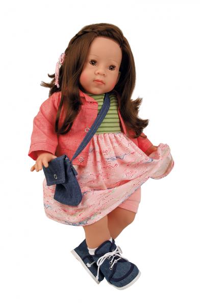 Puppe Elli 52 cm braune Haare, blaue Schlafaugen, Kleidung rose/rot/grün
