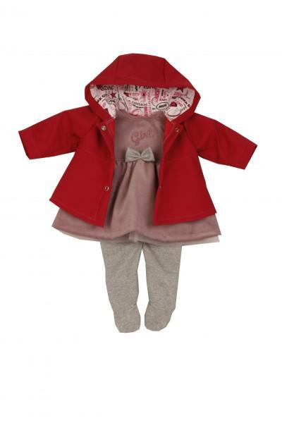 Kleidung zu Puppe 52 cm Klara/Julchen/Elli rose/grau mit rotem Samtmantel