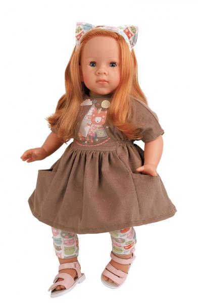 Puppe Elli 52 cm rote Haare, blaue Schlafaugen, Kleidung mit Katzenmotiv